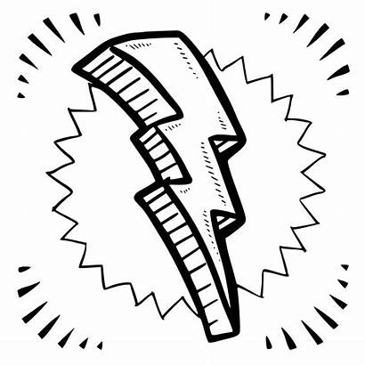 Lightning Bolt Coloring Pages Thunder Lighting Drawing