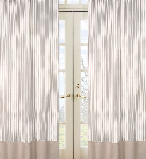 taupe stripe 84 inch curtain panel pair