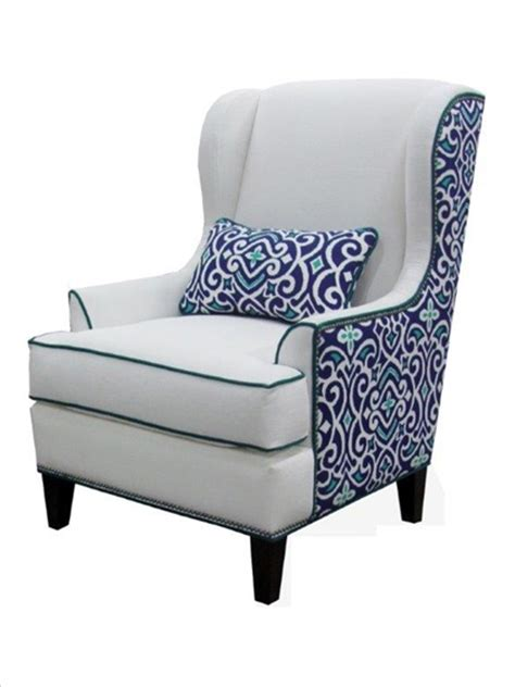 logan wing chair oyster white fabric with aqua blue