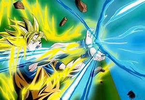 Dragon Ball Z Super Saiyan Goku Kamehameha by ...