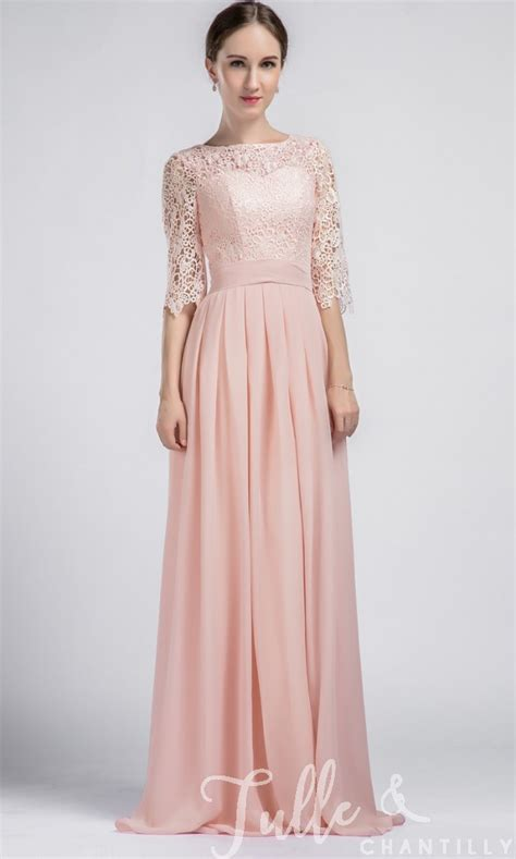 Boat Neck Net Gowns by Boat Neck Lace Sleeves Bridesmaid Dress With Chiffon Skirt