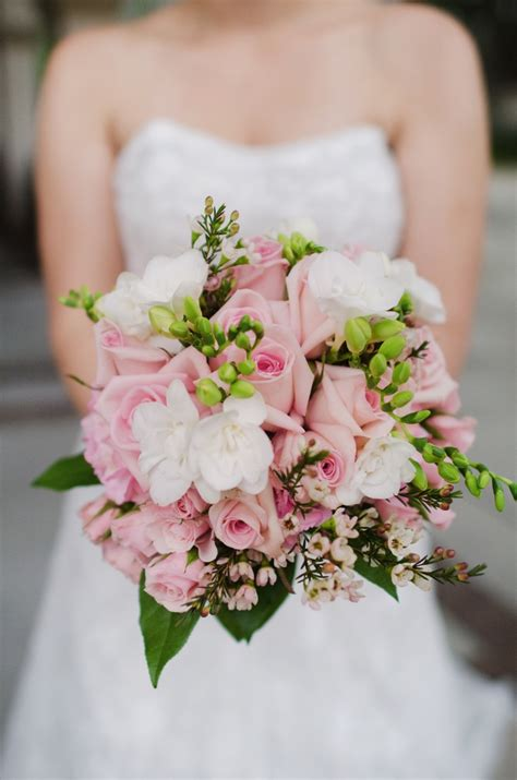 Gorgeous Bouquet Of Pink Roses White Freesia Pink Wax