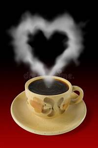 Cup Of Coffee And Steam Like A Heart Stock Image