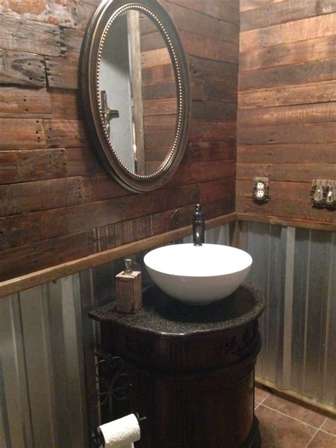 Remodel, Rustic Bathroom With Pallet Wall And Corrugated