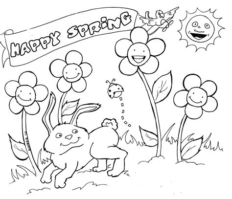 Spring Coloring Pages Free Large Images