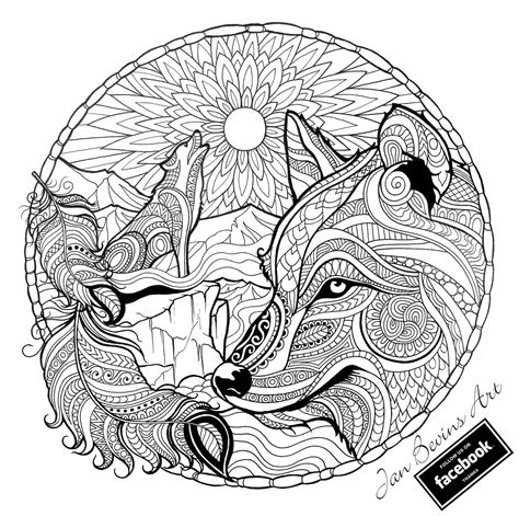wolf coloring book wolf coloring activity therapy wolf