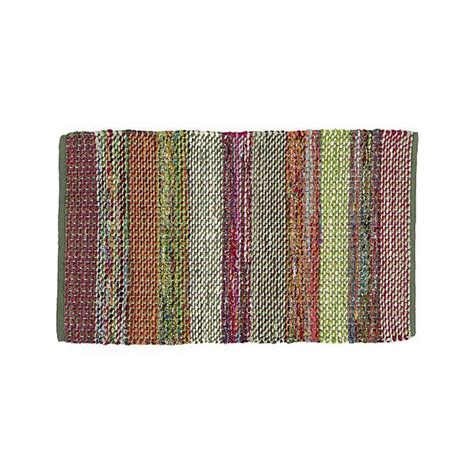 wide stripe multi rag rug crate  barrel kitchen