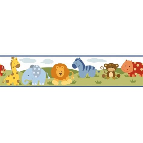 Baby Jungle Animals Wallpaper Border - polka dotted baby jungle animal easy walls wallpaper