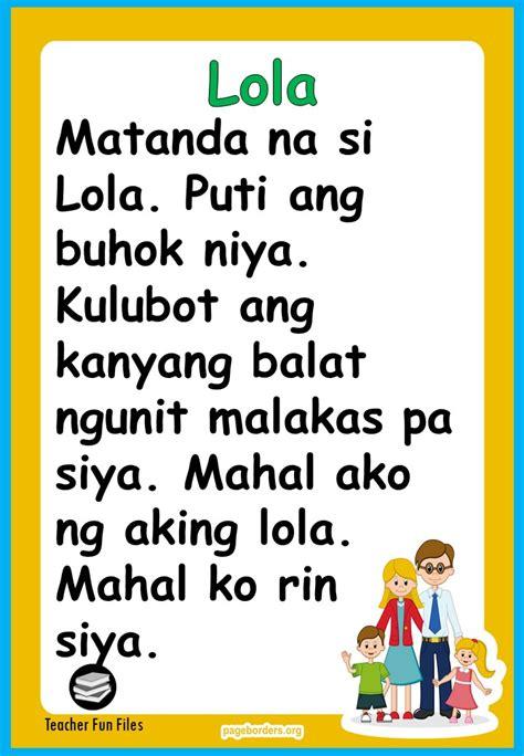 teacher fun files filipino reading materials  kindergarten