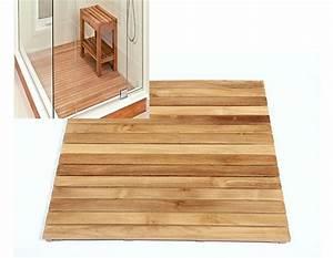 caillebotis pour douche en bois de teck massif tuile de With caillebotis salle de bain bois
