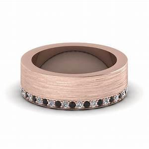 brushed wedding band with black diamond in 14k rose gold With black and rose gold mens wedding ring