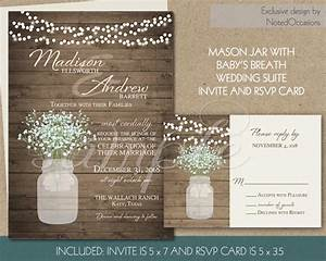 rustic wedding invitation printable mason jar and baby39s With rustic wedding invitations with baby s breath