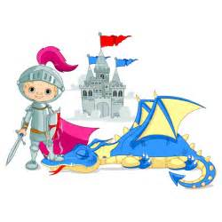 Knight and Castle Dragon Clip Art
