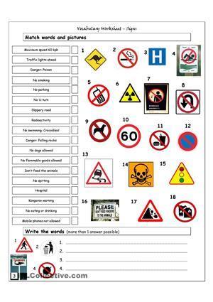 13 Best Photos Of Warning Signs Worksheet Printable  Printable Warning Signs Worksheet, Safety