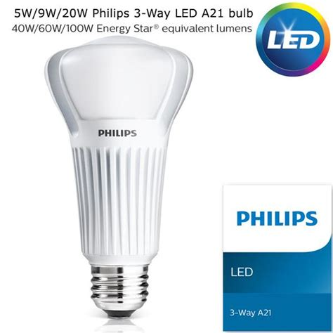 philips 3 way led a21 bulb 5w 9w 20w equivalent to 40w