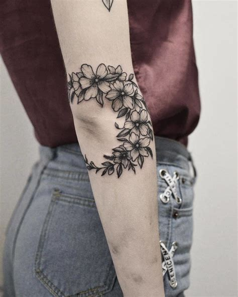 floral crescent nature tattoo  floral swag     romantic