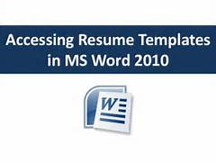 Accessing Resume Templates In Word 2010 Resume Template Microsoft Word 2010 Microsoft Word Templates Resume Resume Template Microsoft Word Starter Simple Resume