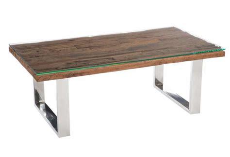 Table Bois Massif Design Table Basse Rectangulaire Design Nature Chrome Plateau Bois Massif