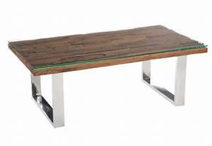 Table Basse Bois Acier : table basse rectangulaire design nature chrome plateau bois massif ~ Teatrodelosmanantiales.com Idées de Décoration