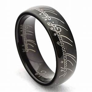 black lord of the rings the one replica tungsten ring With white gold lord of the rings wedding band