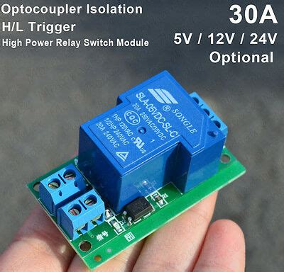 5v 12v 24v high power 30a h l trigger relay switch optocoupler isolation module ebay