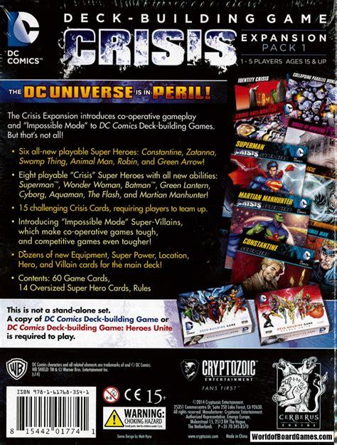 dc deck building expansion 2 dc comics deck building crisis expansion pack 1