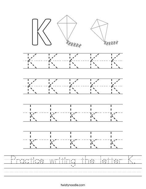 practice writing the letter k worksheet twisty noodle