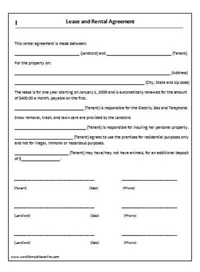 lease agreement template rental agreement templates
