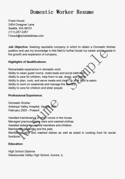 domestic worker resume sample ipasphoto