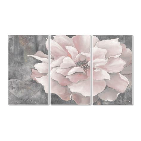 stupell industries pastel pink peony on gray 3 piece graphic art wall plaque set reviews wayfair