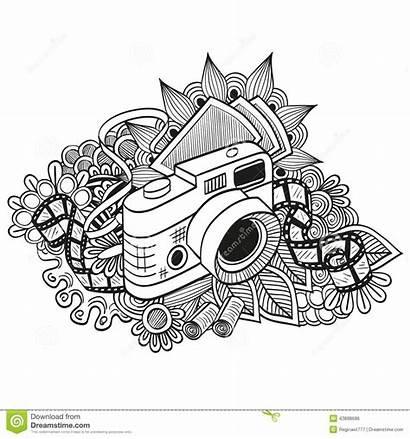Camera Doodle Retro Hipster Fotografica Drawing Scarabocchio