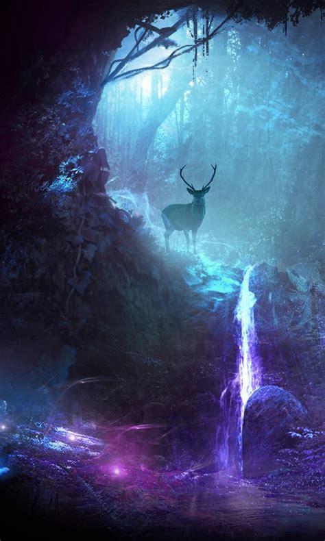 wallpaper deer waterfall surreal neon cgi hd
