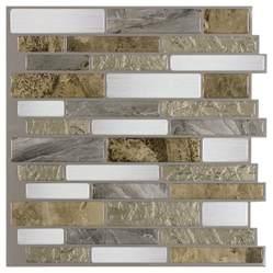 Self Adhesive Kitchen Backsplash Tiles Shop Peel Stick Mosaics Mountain Terrain Linear Mosaic Composite Peel And Stick Wall Tile