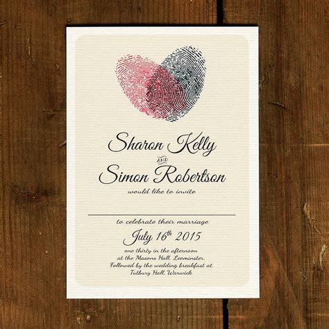 fingerprint heart wedding invitation  save  date
