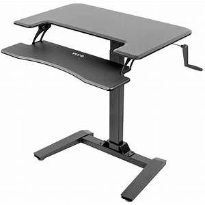 Vivo Black Manual Crank Height Adjustable Standing Desk