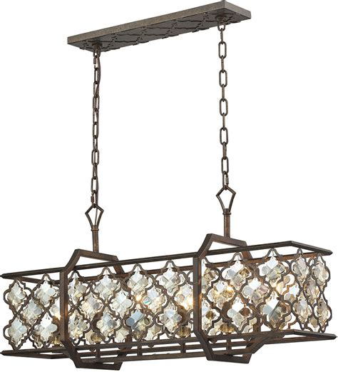 kitchen island chandeliers elk 31098 6 armand weathered bronze kitchen island