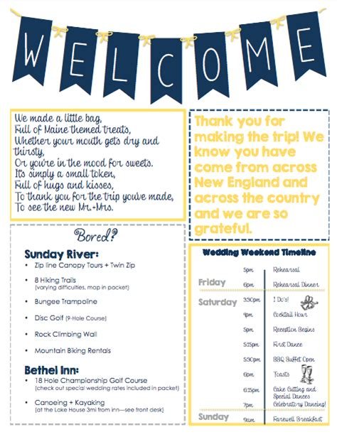 wedding welcome letter template oot welcome letter packet