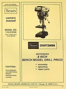 Craftsman 113 213720 8 U0026quot  Bench Drill Press Instructions