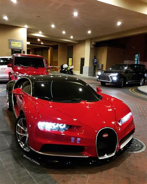 Bugatti Chiron Painted In Red & Black W/ Chrome Accents
