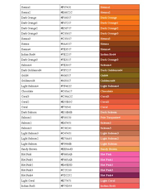 color code for brown brown color code image result for color names for brown