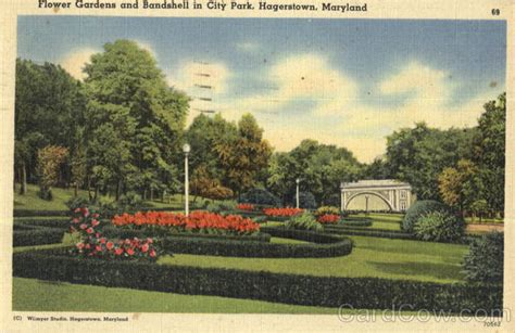 flower gardens and bandshell in city park hagerstown md