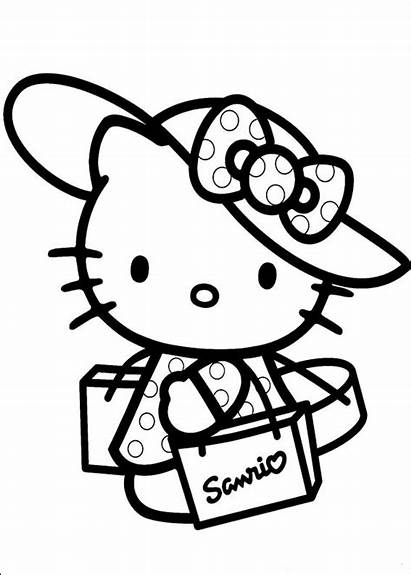 Kitty Hello Coloring Pages Fun Adorable Enjoy