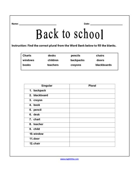 correct plurals back to school worksheets back to school
