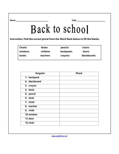 Correct Plurals Back To School Worksheets  Back To School Worksheets  Pinterest School