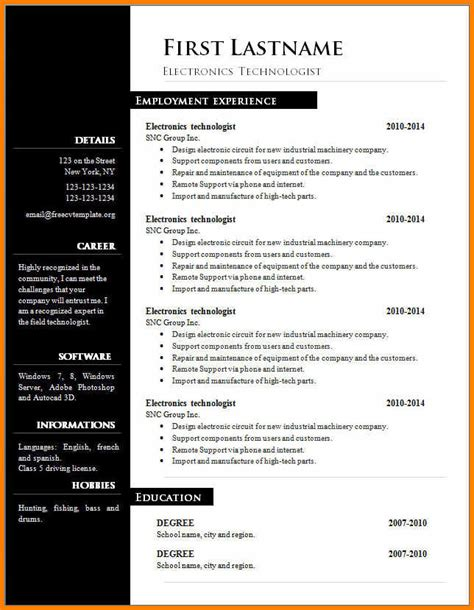 18615 resume template in word 5 a cv template on word instinctual intelligence