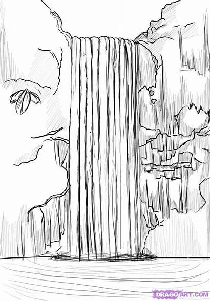 Waterfall Draw Step Drawing Landscapes Places Steps