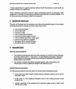 business continuity plan template 9 free word pdf With business resumption plan template