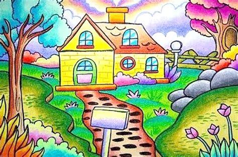 gambar contoh hasil mewarnai rumah dan taman