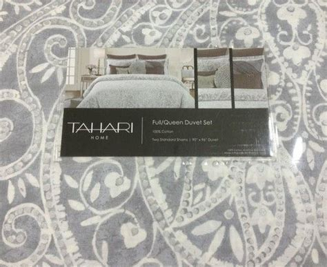 tahari home collection ls tahari gray white silver medallion 3pc duvet set