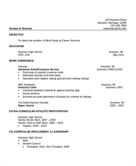 high school resume templates examples samples format